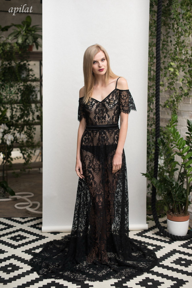 Long Black Lace Nightgown F26 (black), Bridal Black Lingerie, Wedding