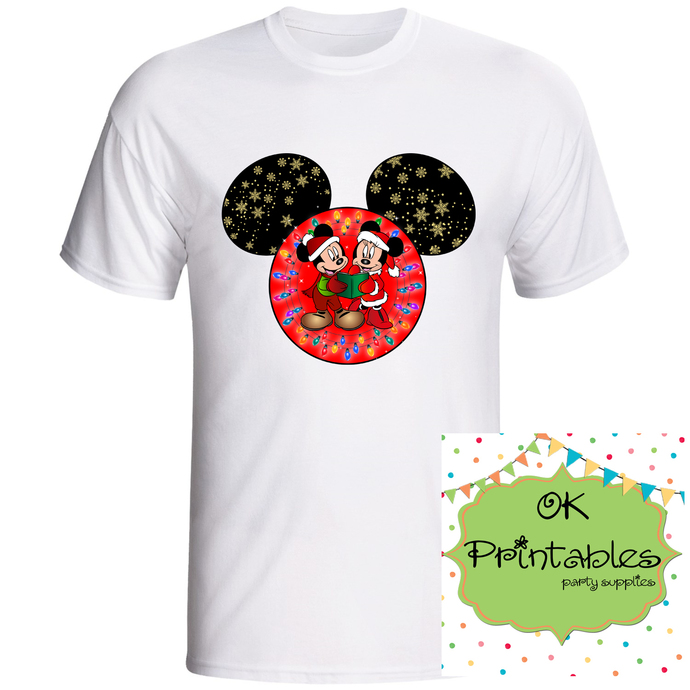 Christmas Mickey and Minnie mouse ears Christmas Iron on Transfer