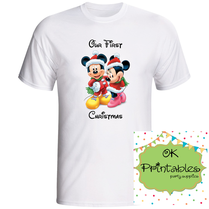 Our first Christmas Mickey and Minnie mouse Iron on Transfer