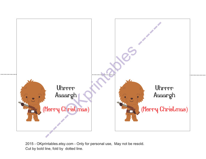 Chewbacca Christmas Card, 4x6 inches, Instant download, PDF, funny greeting