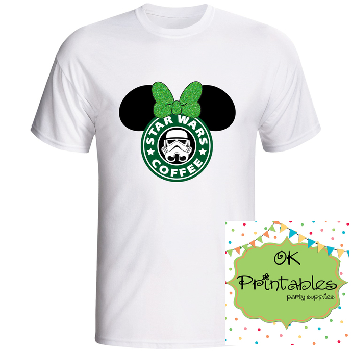 Star wars Coffee Minnie ears Iron on Transfer -JPG