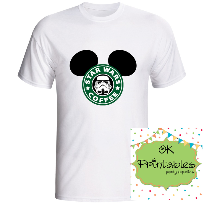 Star wars Coffee Mickey ears Iron on Transfer -JPG-