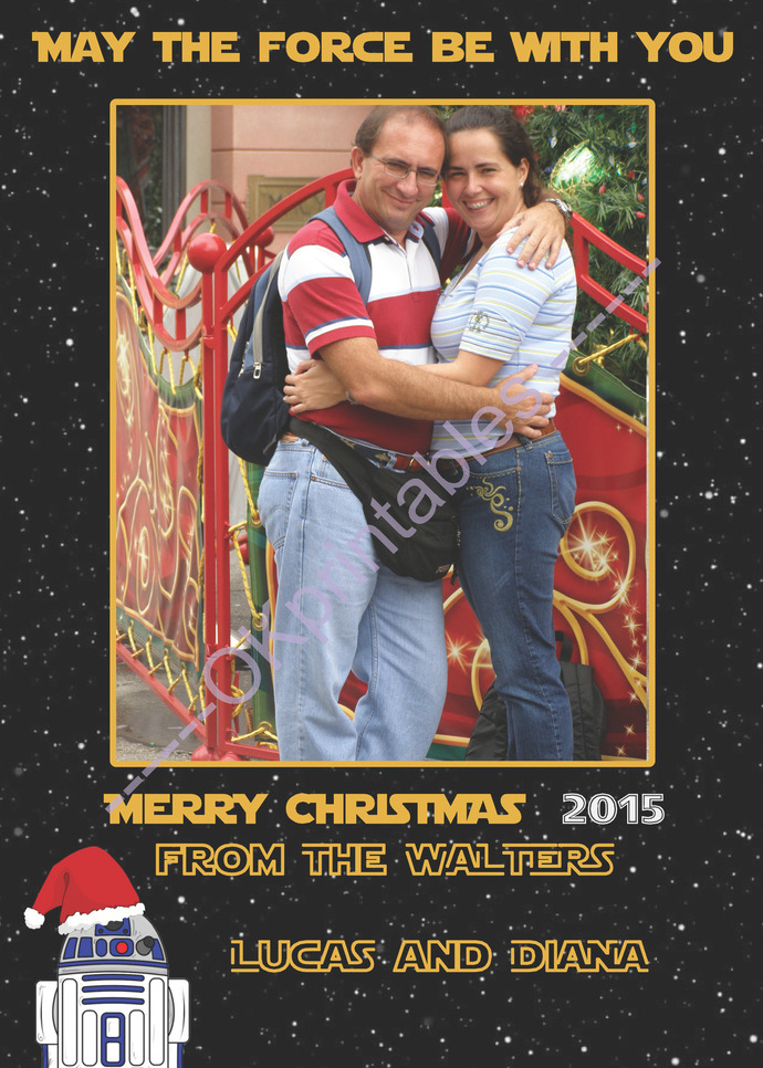 Star Wars Holiday season Card, Star Wars Xmas Card, Personalized Card,  Family Photo Christmas Card, May the Force Be With you- R2D2 xmas