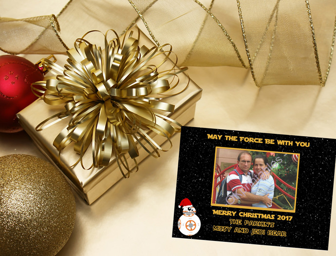 BB8 Star Wars Holiday season Card, Star Wars Xmas Card, Personalized Card,