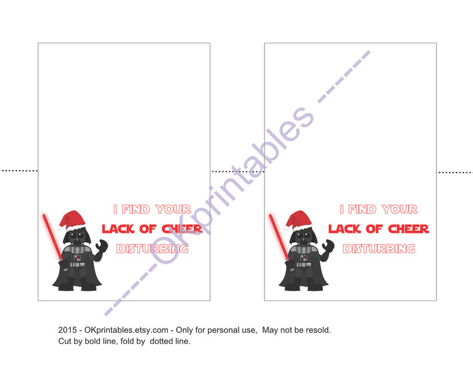 Dart Vader Christmas Card, 4x6 inches, Instant download, PDF, funny greeting