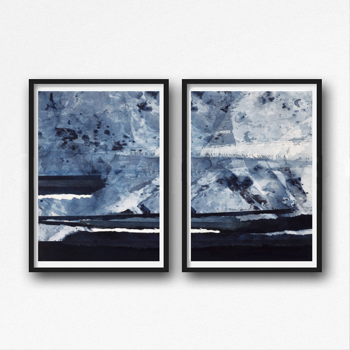 Abstract digital print, blue painting, digital download print, abstract