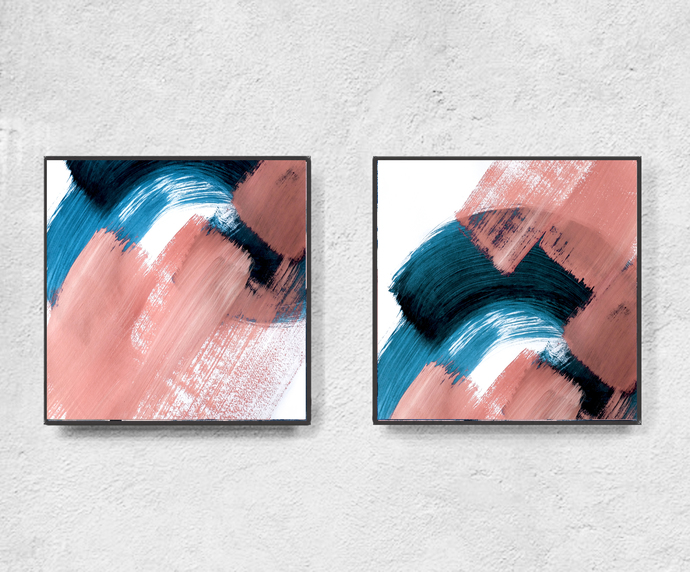 Print art, contemporary art, teal and peach, Pink art, Modern painting,