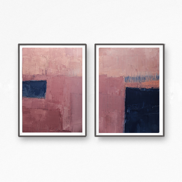Abstract printable art, Navy blue and light pink, Modern art prints, Abstract