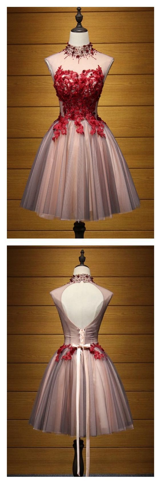 A Line HIgh Neck Tulle Homecoming Dresses with Applique Party Dresses Short Prom
