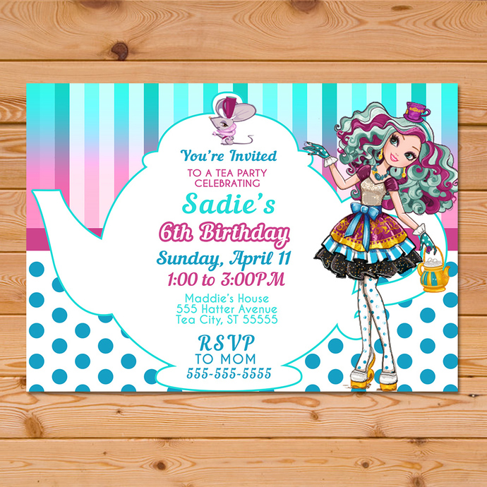 Maddie Hatter Ever After High Invitation Teapot * Ever After High Birthday *