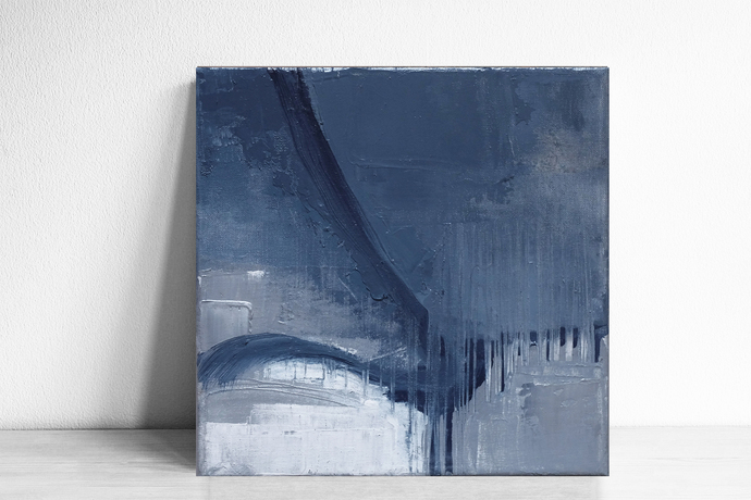 small abstract, navy blue and gray painting, 8x8 , Original textured , blue and