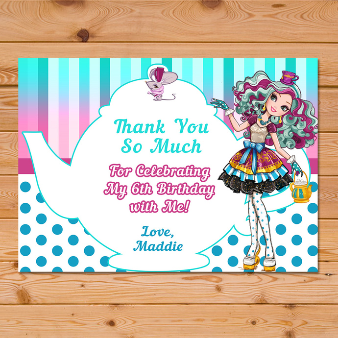Maddie Hatter Ever After High Thank You Card * Ever After High Birthday * Ever