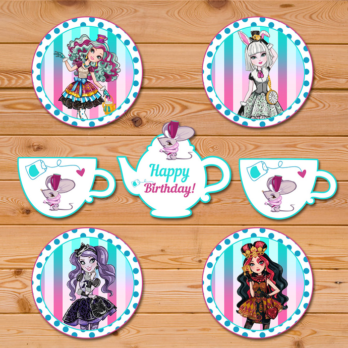 Maddie Hatter Ever After High Cupcake Toppers * Ever After High Birthday * Ever After High Stickers * Ever After High Favors