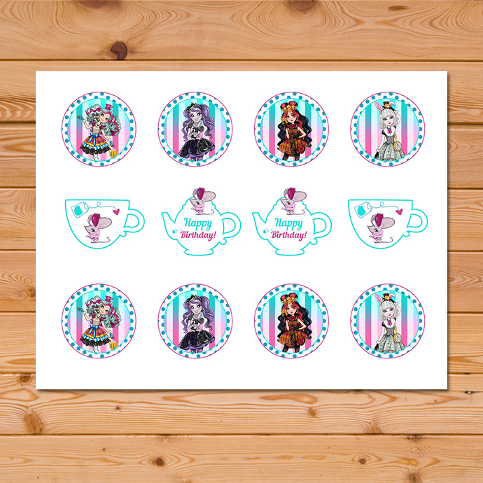 Maddie Hatter Ever After High Cupcake Toppers * Ever After High Birthday * Ever