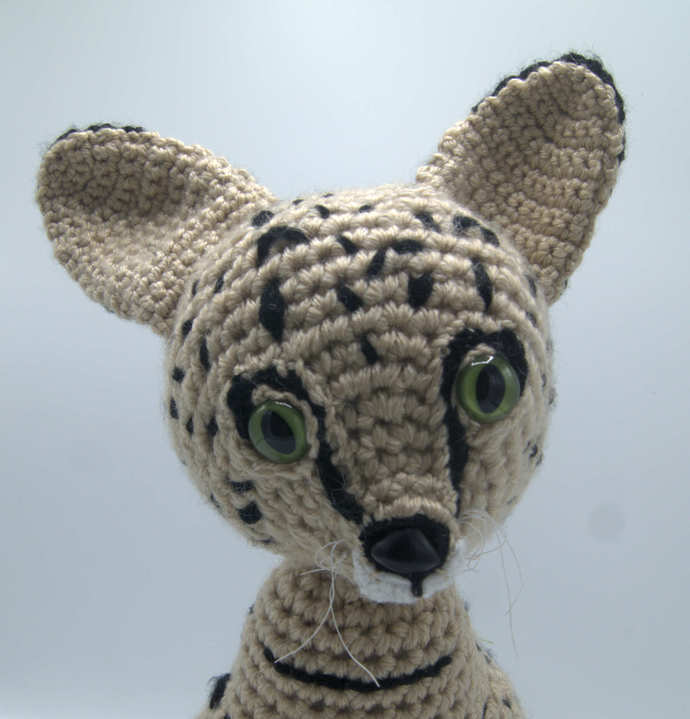 Cat Crochet Stuffed Animal/Amigurumi Cat Art/Savannah African Cat