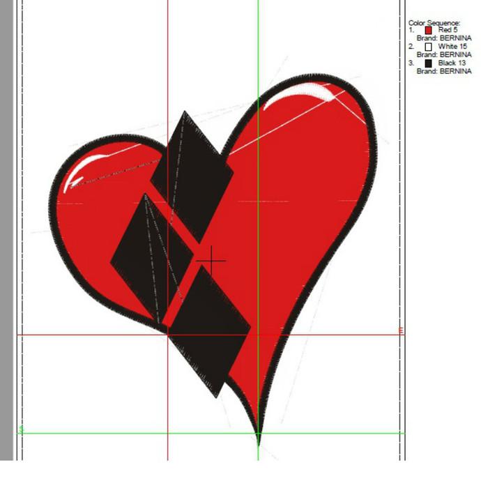Harley Quinn embroidery heart design fill stitch machine designs Batman pattern