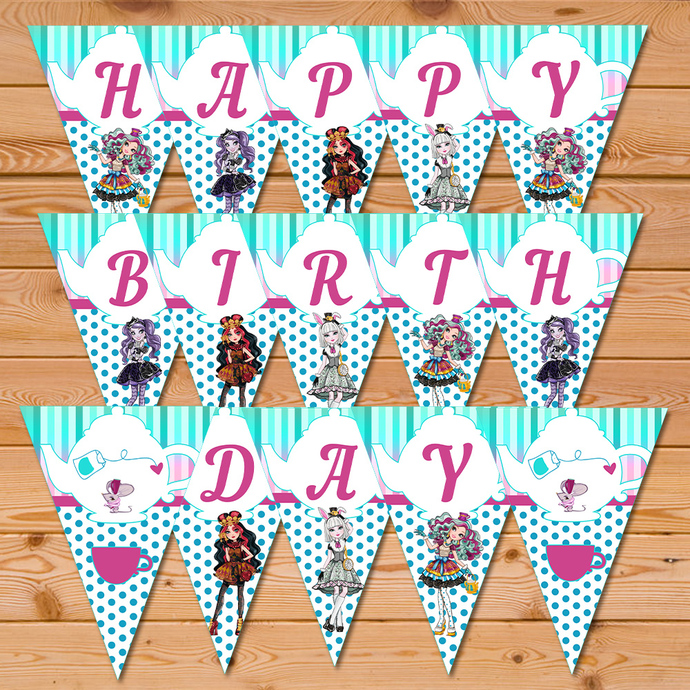 Maddie Hatter Ever After High Birthday Banner * Ever After High Happy Birthday Banner * Ever After High Sign * Ever After High Favors
