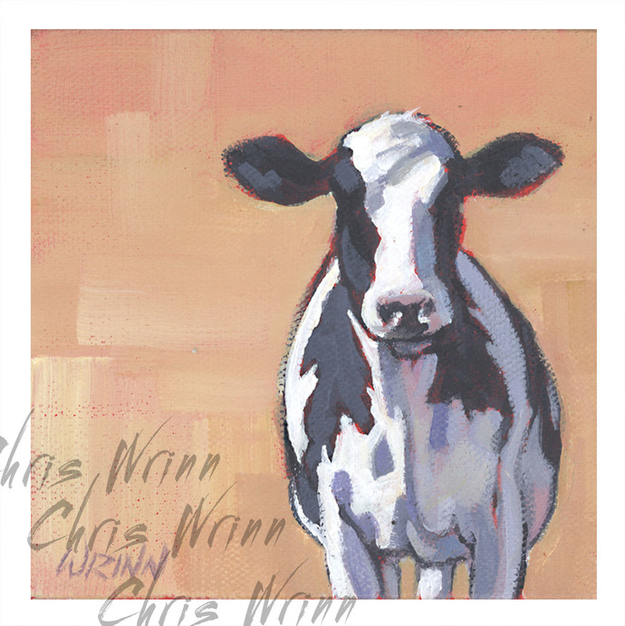 "Cow Painting on 5x5"" gallery wrapped Canvas, Farm Animal Art, Farmhouse Decor"