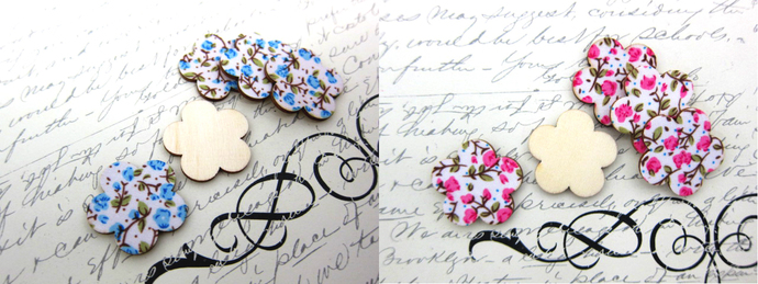 5pcs Wooden Flowers - Pink/Blue stl