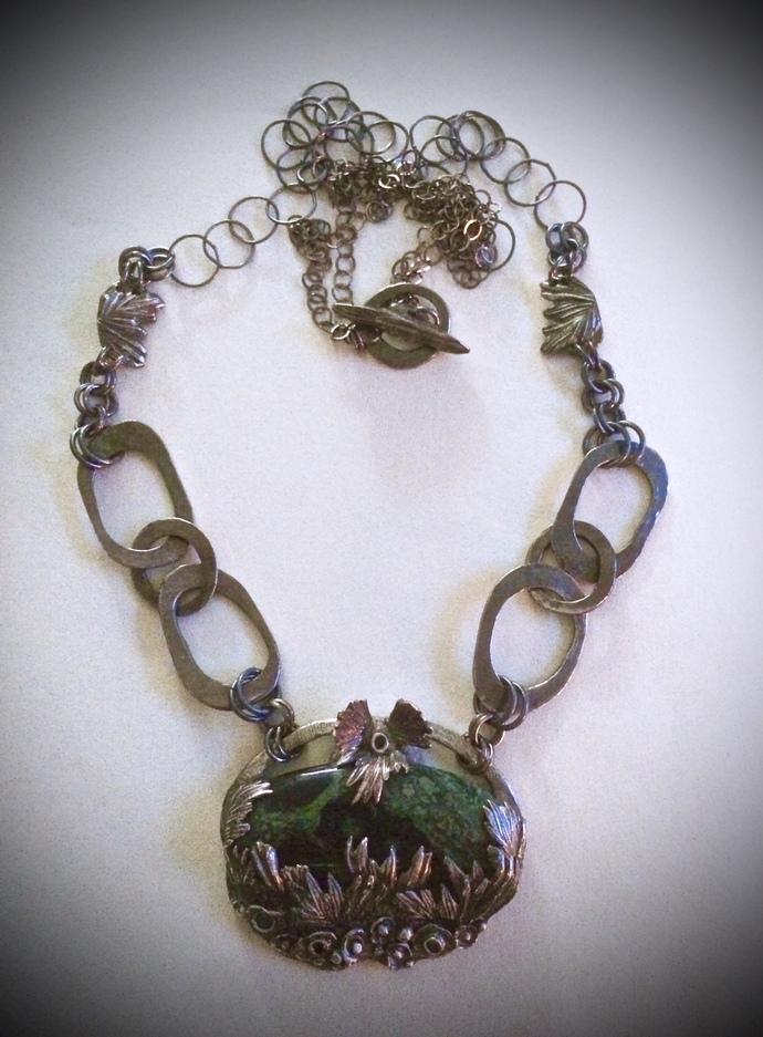 Rosemary necklace, silver pendant, handmade chain, kambaba jasper necklace, gift