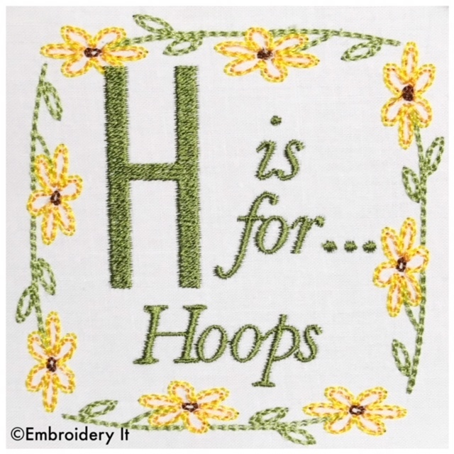 Embroidery Words Alphabet Letter H - Machine Embroidery Design in Pes, Dst, Exp,