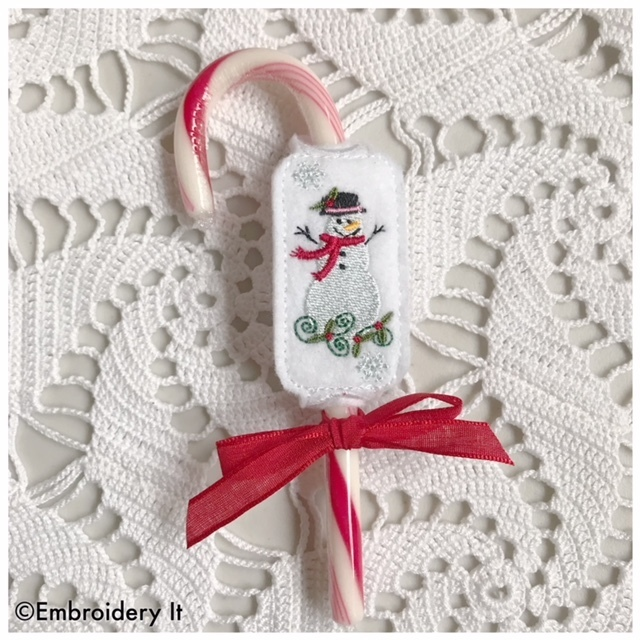 Snowman Candy Cane Sliders - Machine Embroidery Design in Pes, Dst, Exp, Hus,
