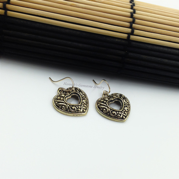 Heart of Gold Charm Earrings