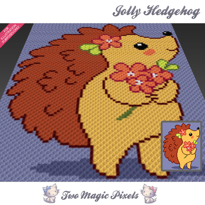 Jolly Hedgehog crochet blanket pattern; c2c, cross stitch; graph; pdf download;