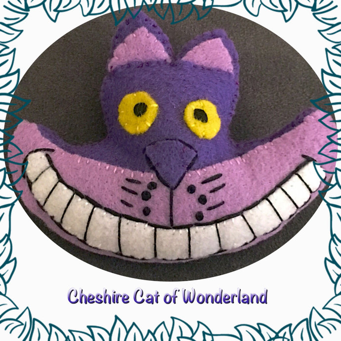 Cheshire Cat Wonderland Native felt plushie  ~hand sewn with Love