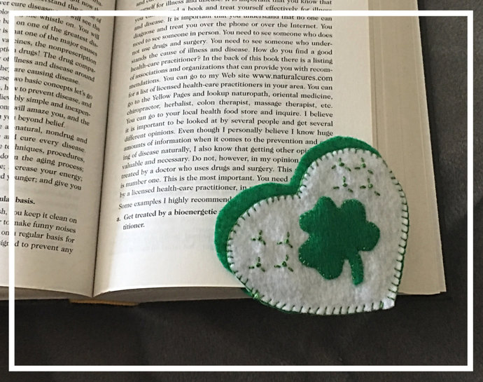 Green Shamrock Heart Felt Corner Bookmark ~Hand-sewn with love -Embroidered