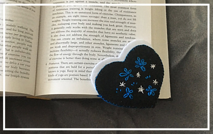 Turquoise and Black Heart Felt Corner Bookmark ~Hand-sewn with love -Embroidered