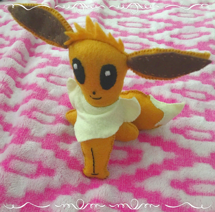 Pokemon Eevee Doll Stuffed Felt Plush Softie ~Handsewn with love