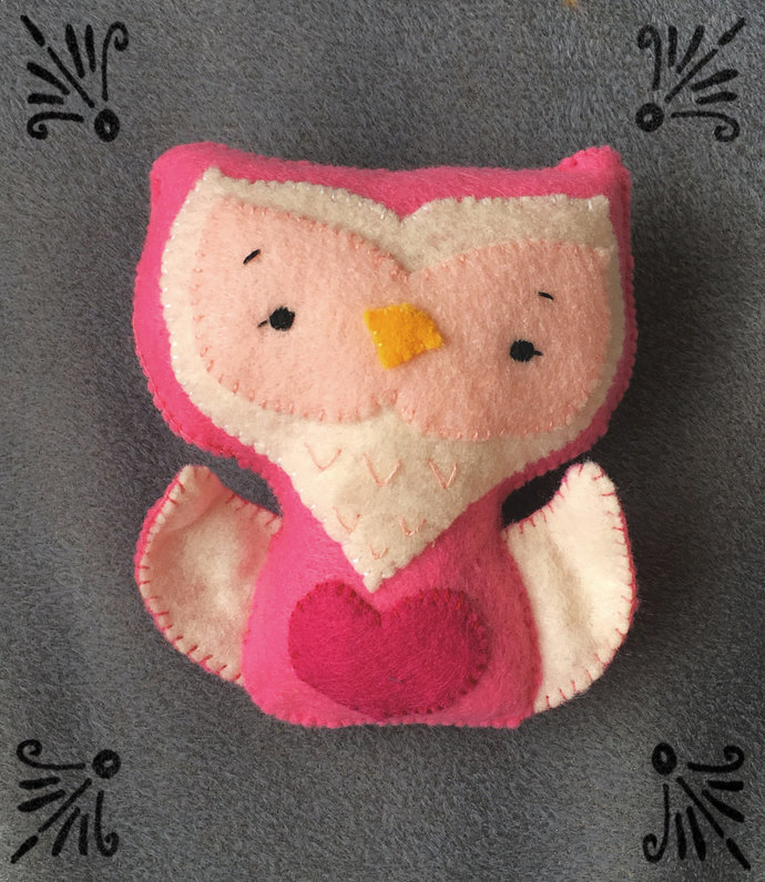 Pink Heart Owl Stuffed Felt Plush Softie ~Handsewn with love