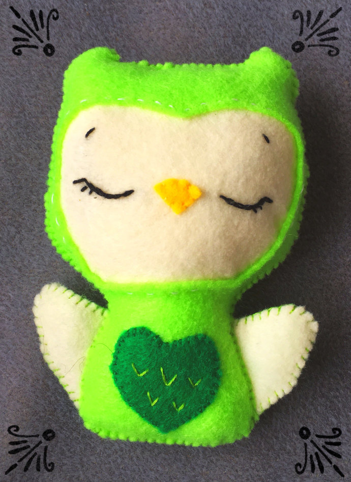 Green Owl Stuffed Felt Plush Softie ~Handsewn with love