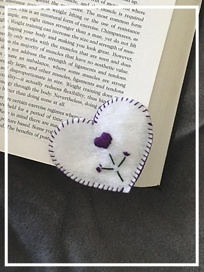 Purple Flower Heart Felt Corner Bookmark ~Hand-sewn with love -Embroidered
