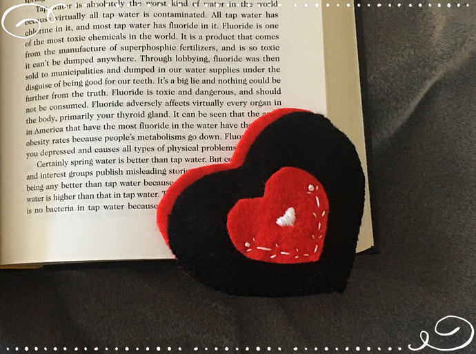 Red and Black Heart Felt Corner Bookmark ~Hand-sewn with love -Embroidered