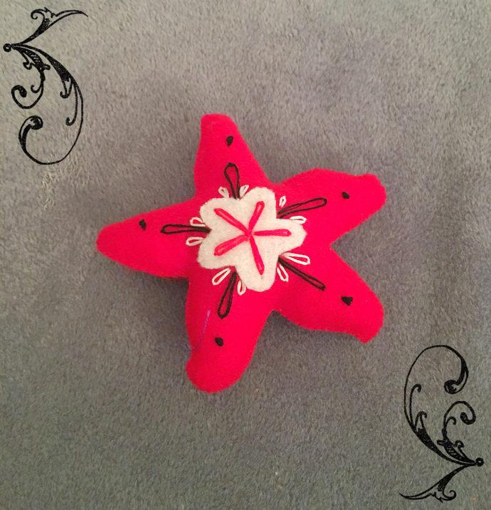 Felt Starfish plush softie -red black white newborn baby color friendly ocean