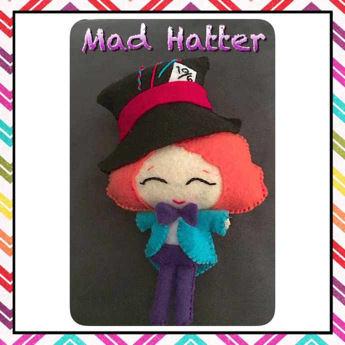 Mad Hatter of Wonderland felt plush ~hand sewn with love