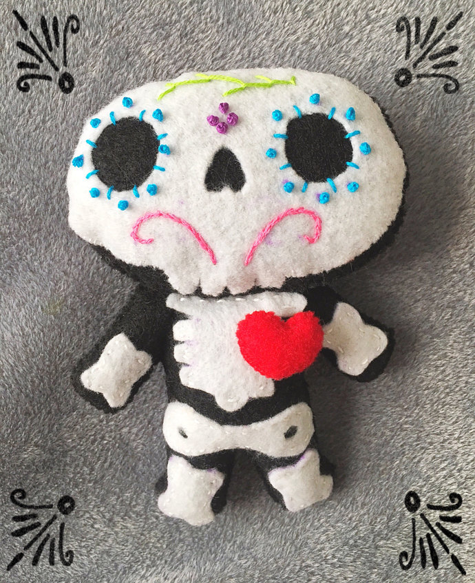 Sugar Skull Skeleton Felt Plush ~handsewn with love
