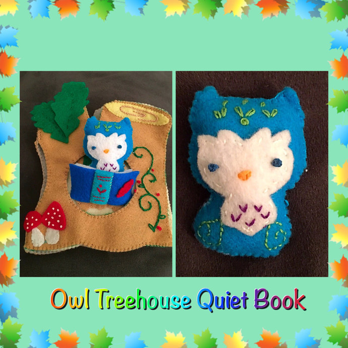 Little Owl's Treehouse Quiet Book ~handsewn with love