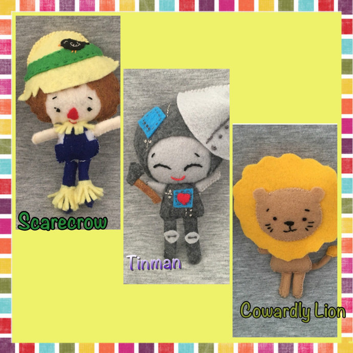 Tinman, Scarecrow, & Cowardly Lion from Oz ~handsewn treasures
