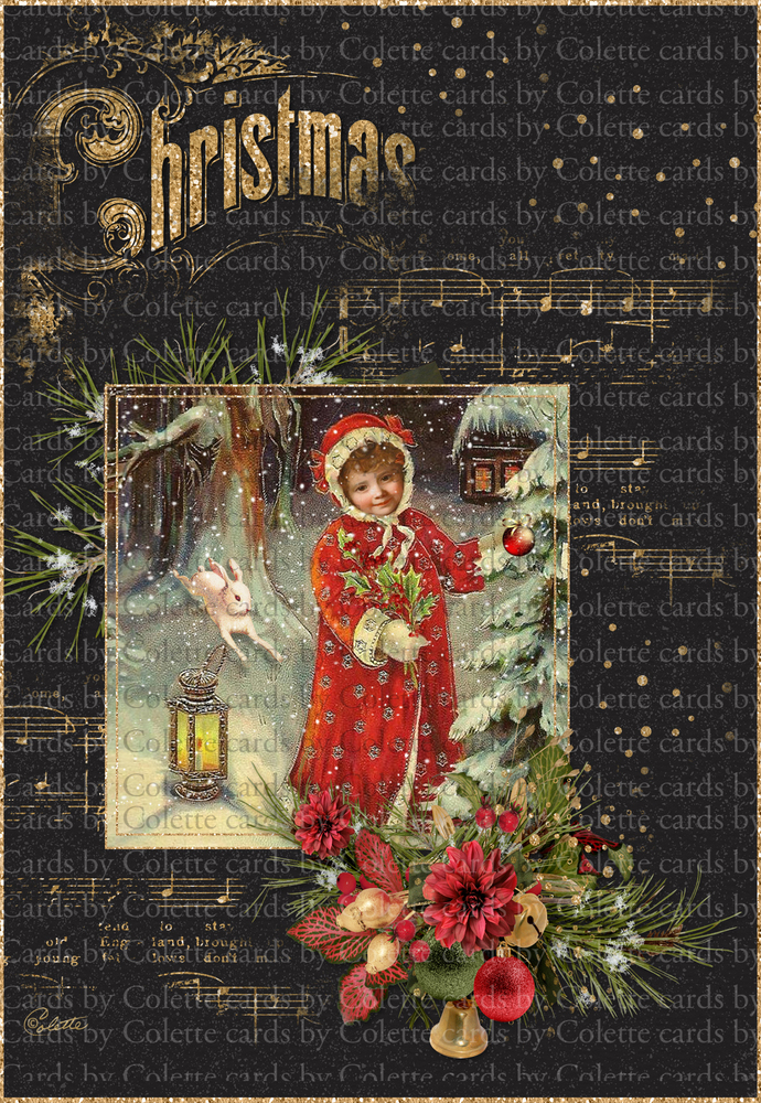 Old Fashioned Christmas Digital Collage by Cards by Colette on Zibbet
