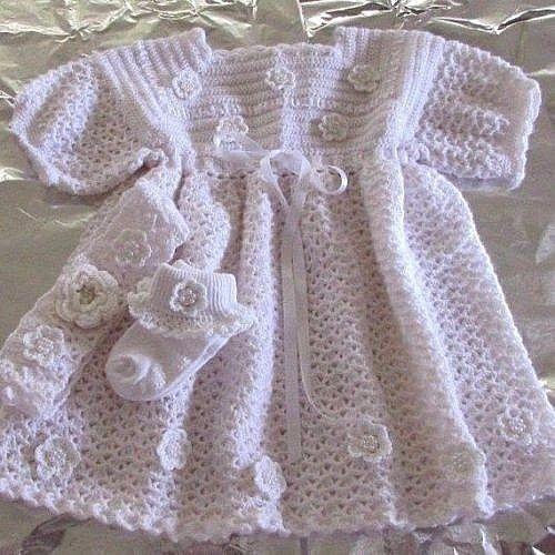 Gift Crochet Baby Girl White Dress Flower 3 Piece Set