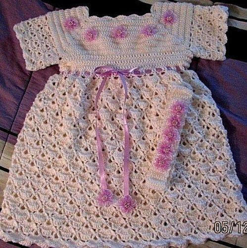 Gift Crochet  Baby Girl  Antique White Dress Flower 2 Piece Set