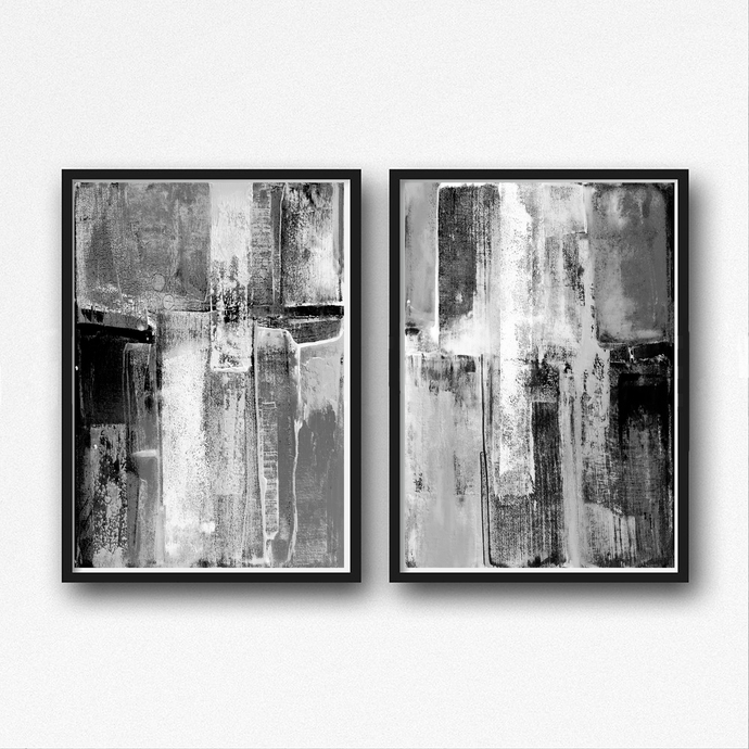 Set of 2 prints 2 black white abstract art instant download minimal