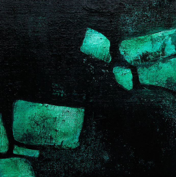 Small abstract, darknes art, black and green abstract, home decor, emerald