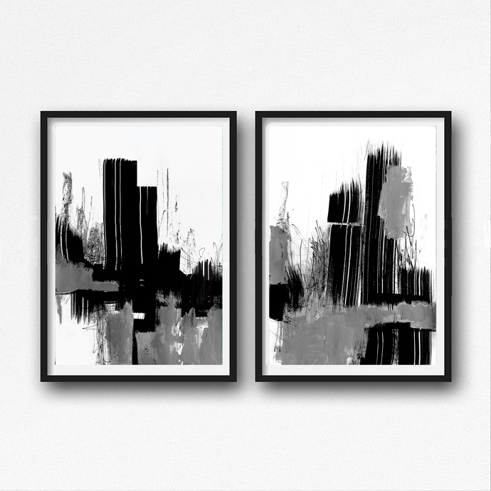 Black and white abstract art modern art prints set of two large minimalist