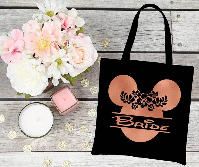 Disney themed Bride Tote Bag, Bride to be gifts, one of a kind tote