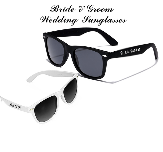 Bride and Groom Personalized Wedding Sunglasses