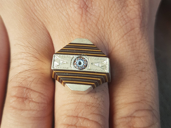 Tuareg Ring Silver Chevron Bead Wood Berber North African Tribal Handmade Ethnic
